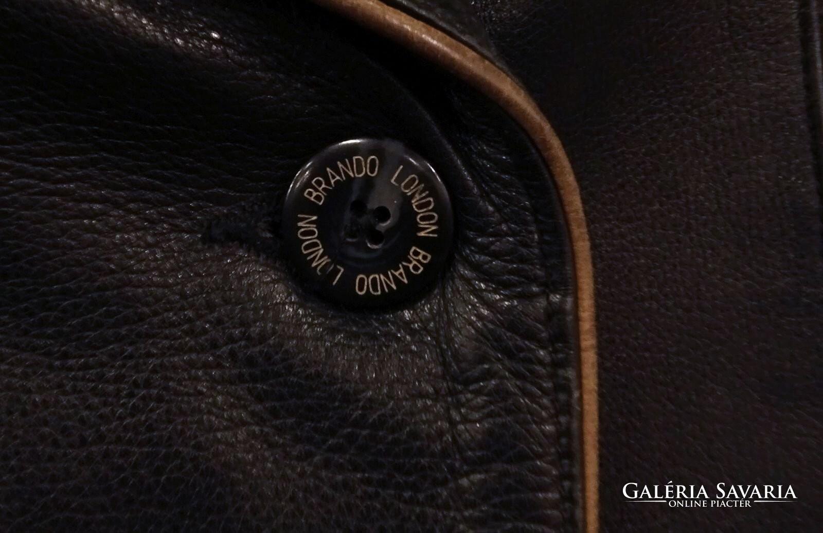0U261 Régi Brando fekete női bőrkabát Gardrób   Galéria