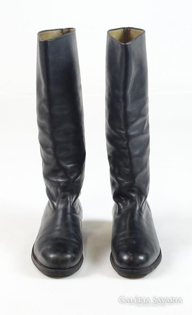 0T487 Régi magas szárú fekete bőr csizma 37-es - Gardrób  40af9a9a7c