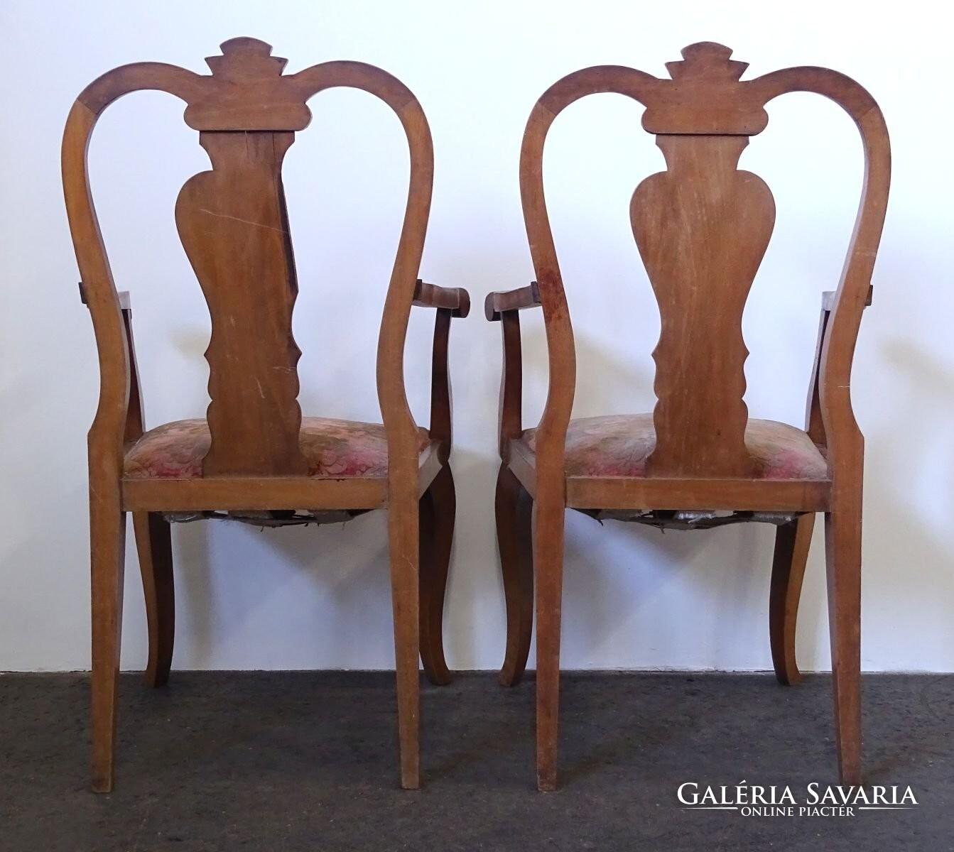 0X219 Antik nagyméretű neobarokk karfás szék pár Bútor